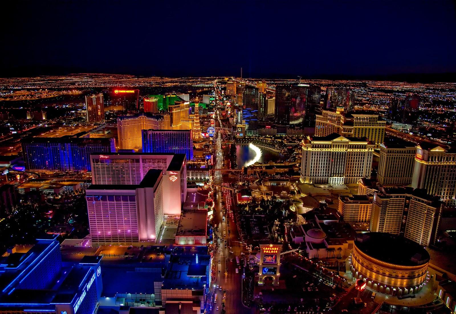 The city of Las Vegas at night.