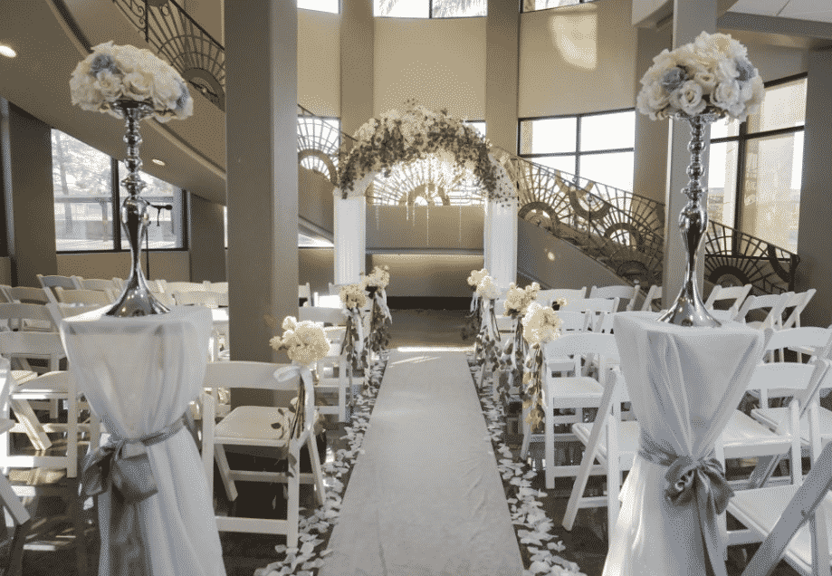 Wedding aisle and arch at The Plaza at Whitney Ranch in Las Vegas.