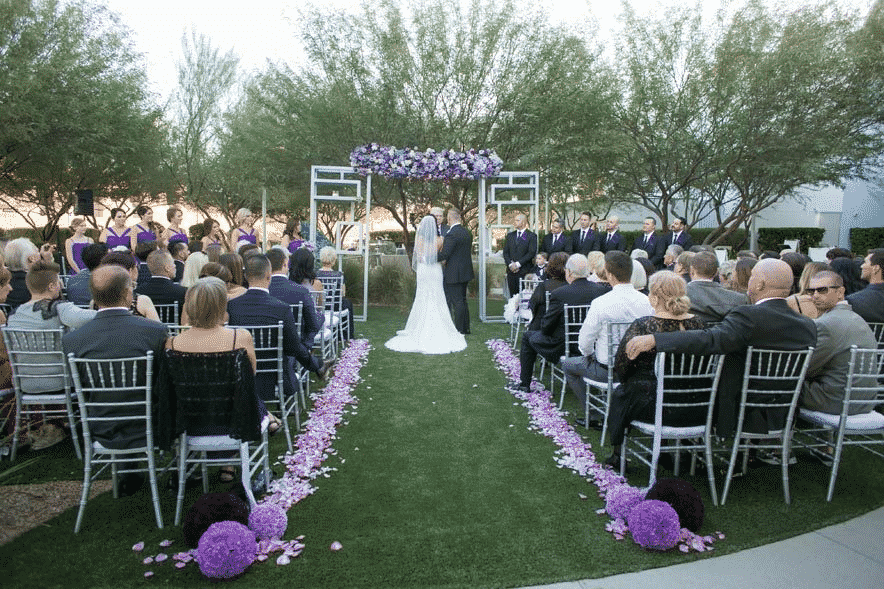 Wedding aisle and arch during a ceremony at the Keep Memory Alive Event Center in Las Vegas.