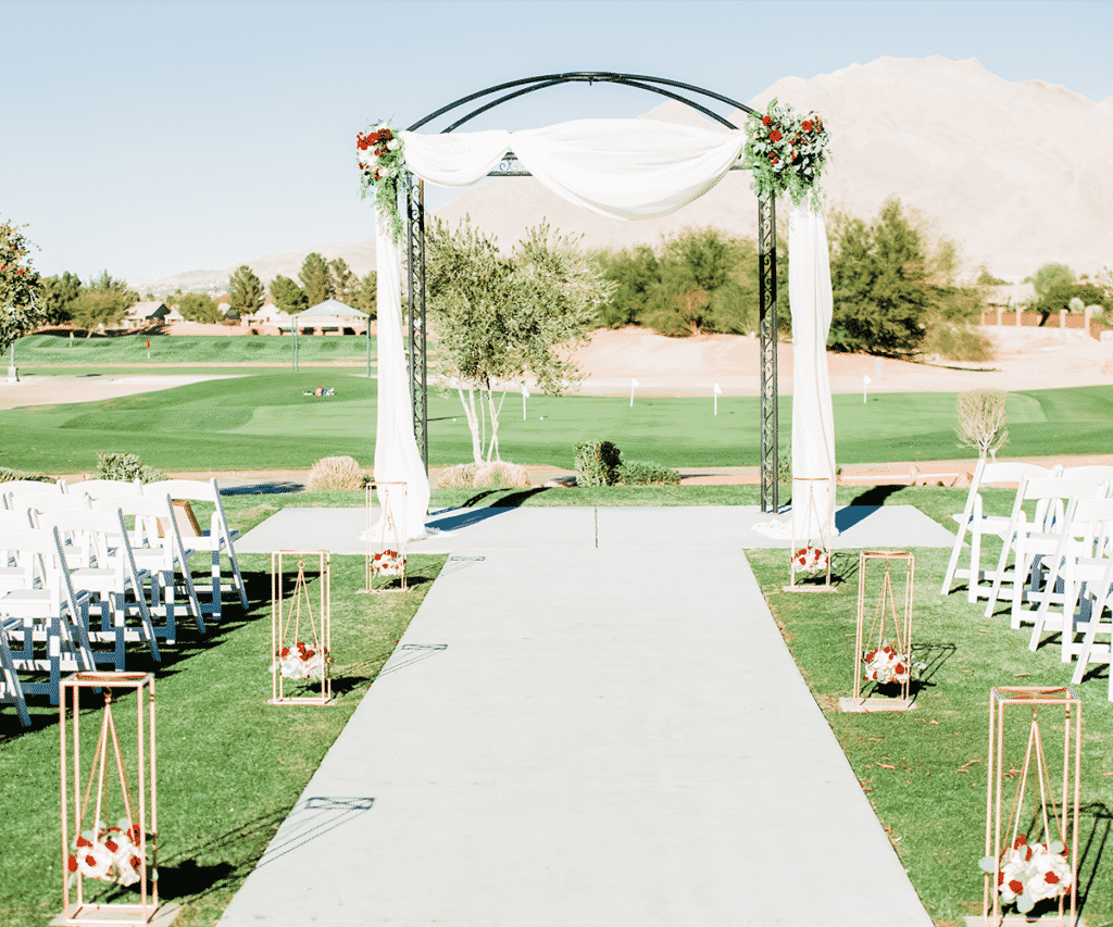 Wedding aisle and arch on the golf course at Wedgewood Weddings in Las Vegas.