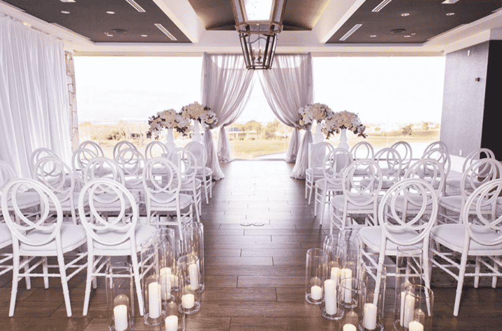 Wedding aisle and arch at the Revere Golf Club in Las Vegas.
