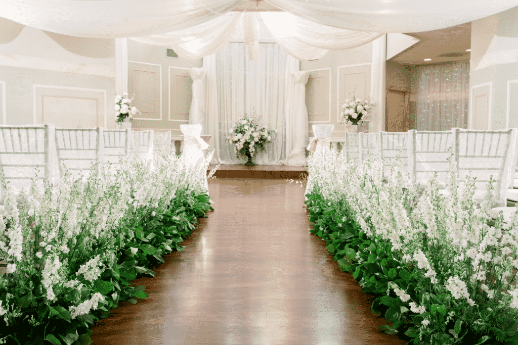 Wedding aisle and arch at Wellington Place in Las Vegas.
