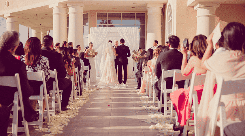 Wedding aisle during a ceremony at the Canyon Gate Country Club in Las Vegas.