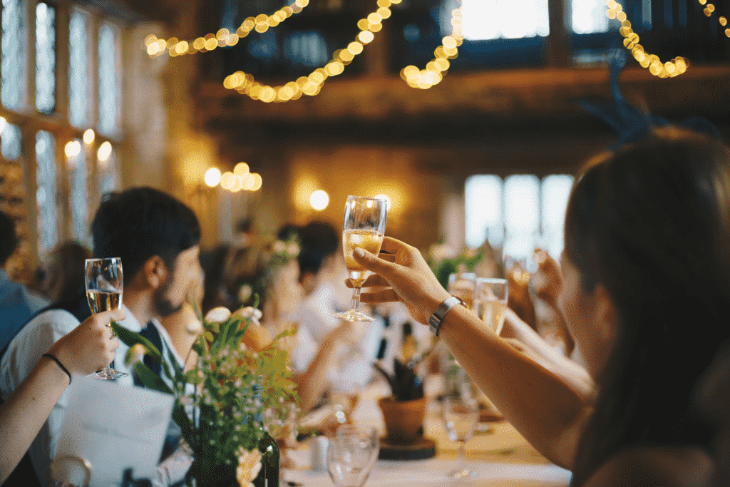 Wedding party having a toast