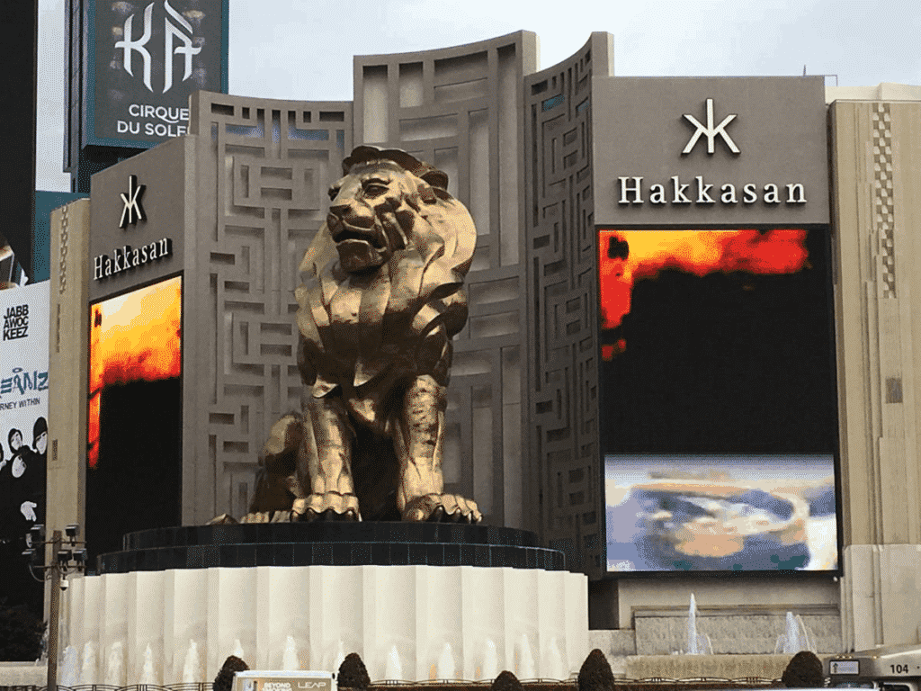 The front of the MGM Grand Hotel and Casino in Las Vegas with a giant metal lion statue.
