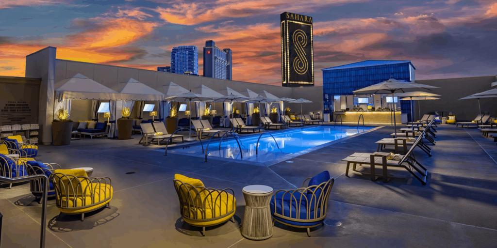 The rooftop pool of the SAHARA Las Vegas hotel.