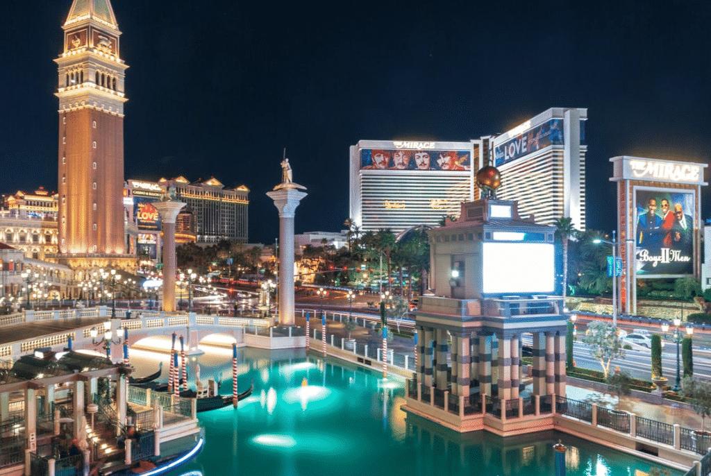 A nighttime view of The Venetian Resort in Las Vegas.